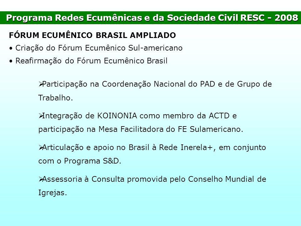 Programa Redes Ecumênicas e da Sociedade Civil RESC - 2008