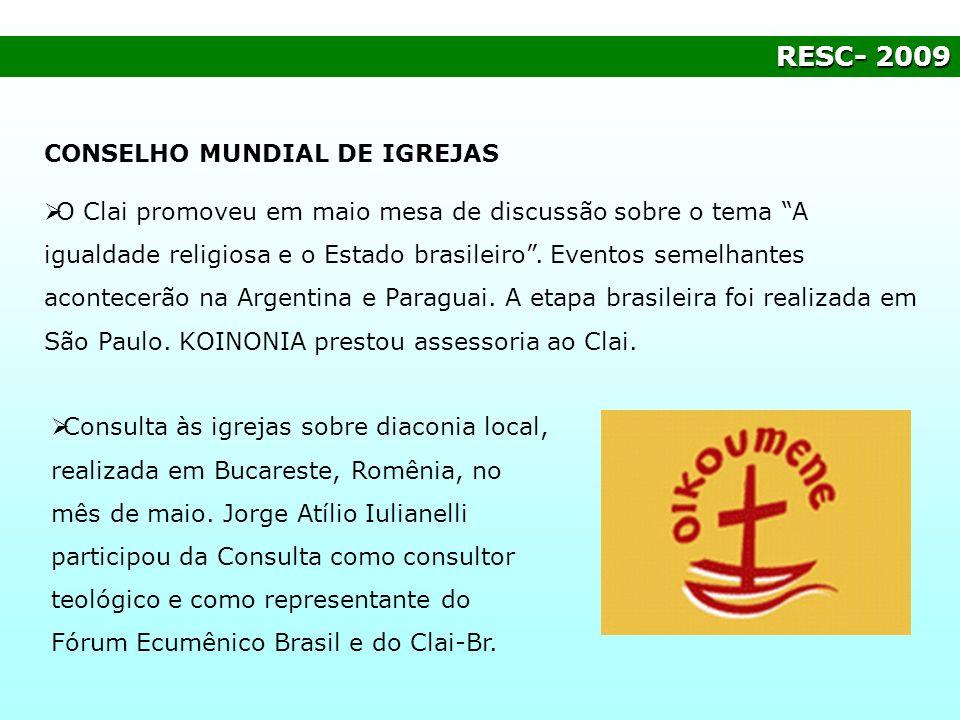 RESC- 2009 CONSELHO MUNDIAL DE IGREJAS