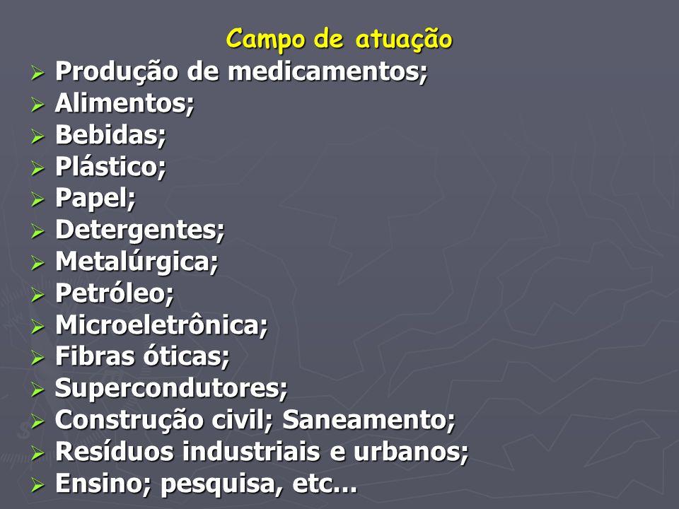 Campo de atuação Produção de medicamentos; Alimentos; Bebidas; Plástico; Papel; Detergentes; Metalúrgica;