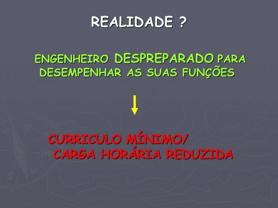 REALIDADE CURRICULO MÍNIMO/ CARGA HORÁRIA REDUZIDA