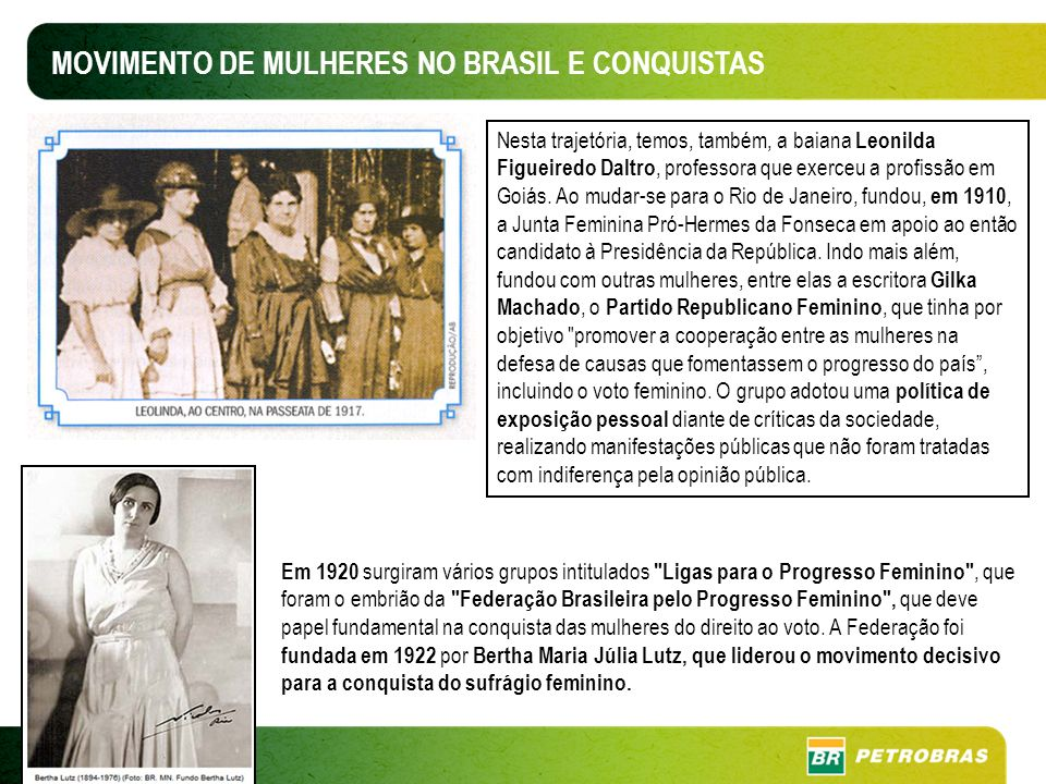 MOVIMENTO DE MULHERES NO BRASIL E CONQUISTAS