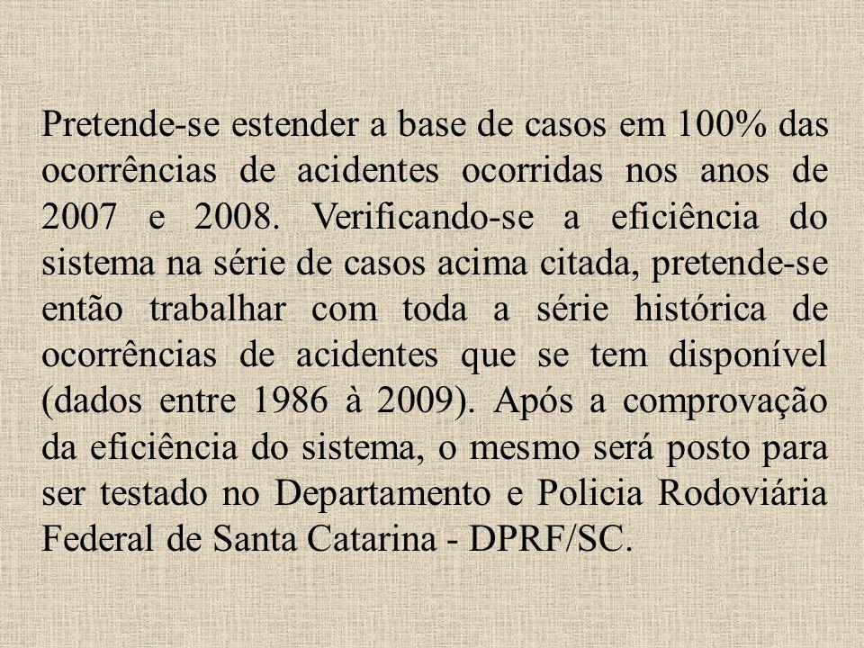 Pretende-se estender a base de casos em 100% das ocorrências de acidentes ocorridas nos anos de 2007 e 2008.