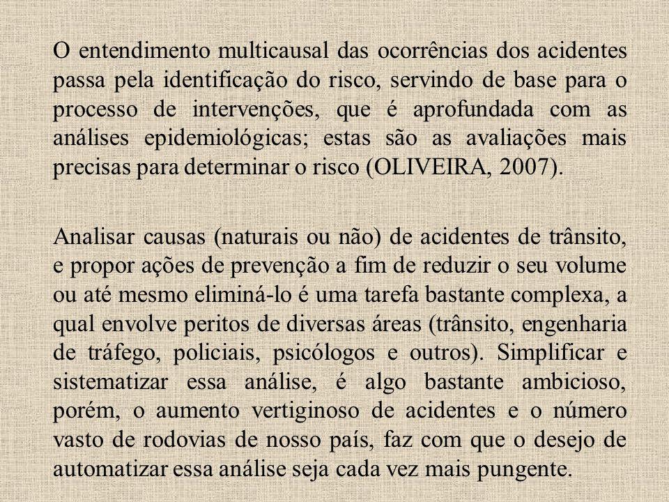O entendimento multicausal das ocorrências dos acidentes passa pela identificação do risco, servindo de base para o processo de intervenções, que é aprofundada com as análises epidemiológicas; estas são as avaliações mais precisas para determinar o risco (OLIVEIRA, 2007).