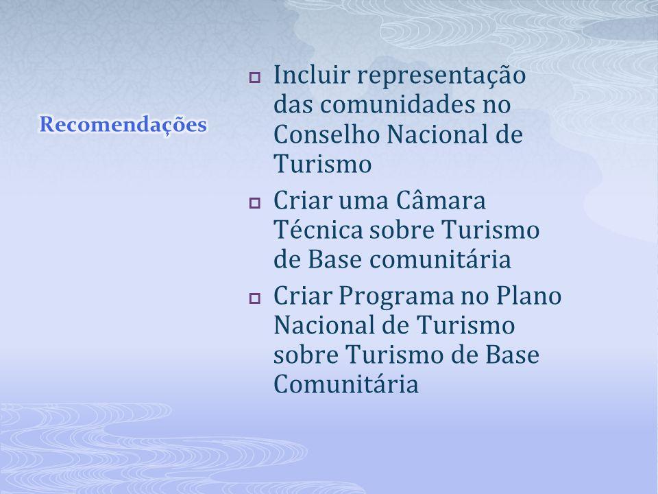 Incluir representação das comunidades no Conselho Nacional de Turismo