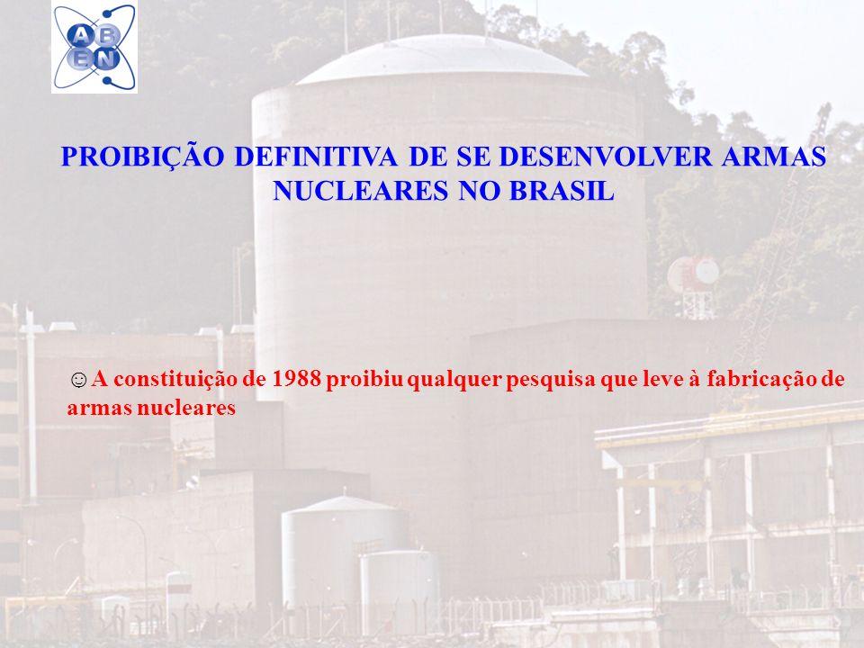 PROIBIÇÃO DEFINITIVA DE SE DESENVOLVER ARMAS NUCLEARES NO BRASIL