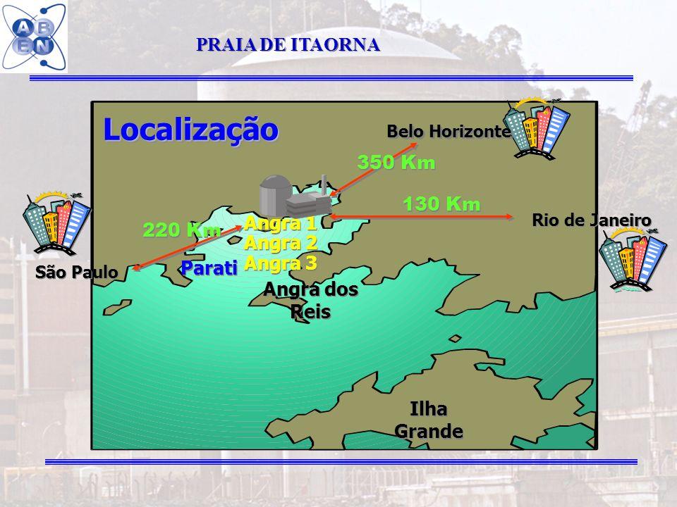 Localização PRAIA DE ITAORNA 350 Km 130 Km 220 Km Angra 1 Angra 2