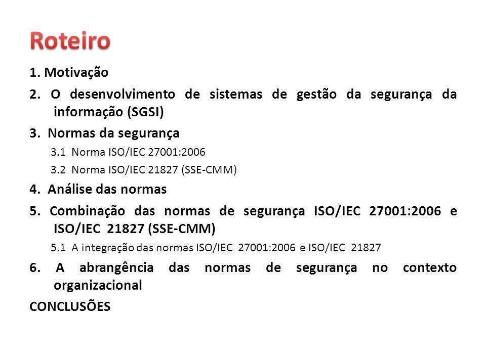Roteiro1. Motivação. 2. O desenvolvimento de sistemas de gestão da segurança da informação (SGSI) 3. Normas da segurança.