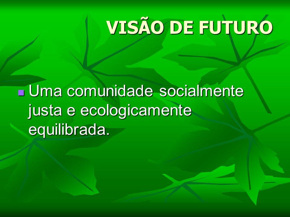 VISÃO DE FUTURO Uma comunidade socialmente justa e ecologicamente equilibrada.