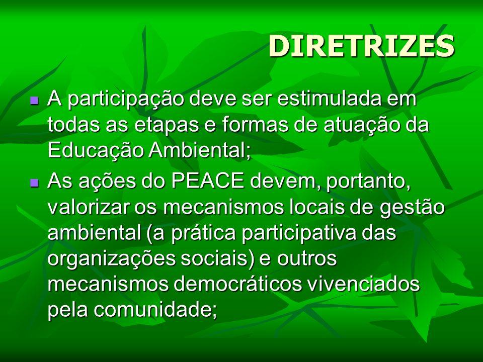 DIRETRIZESA participação deve ser estimulada em todas as etapas e formas de atuação da Educação Ambiental;