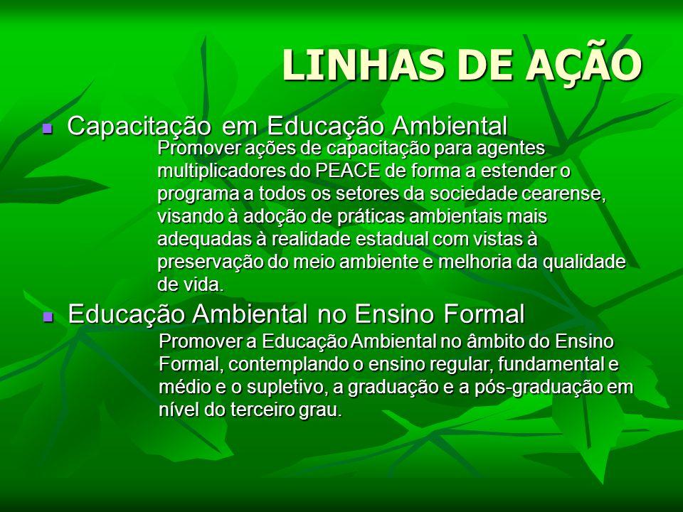 LINHAS DE AÇÃO Capacitação em Educação Ambiental