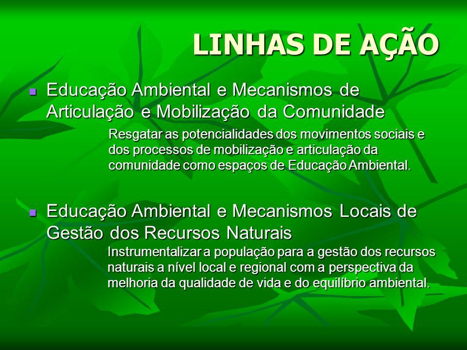 LINHAS DE AÇÃOEducação Ambiental e Mecanismos de Articulação e Mobilização da Comunidade.