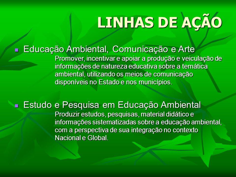 LINHAS DE AÇÃO Educação Ambiental, Comunicação e Arte