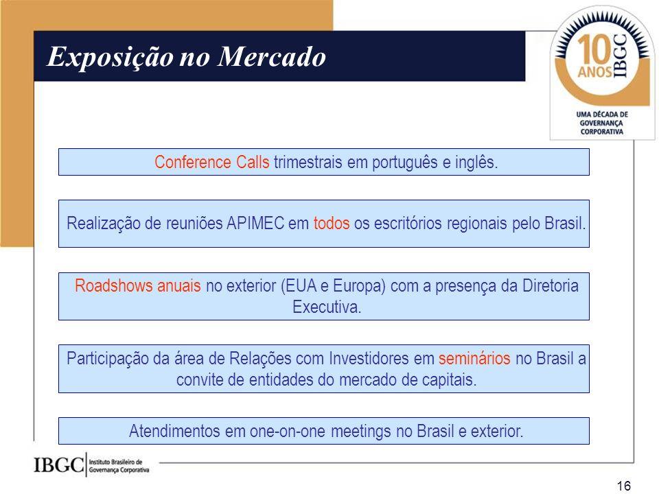 Exposição no Mercado Conference Calls trimestrais em português e inglês.