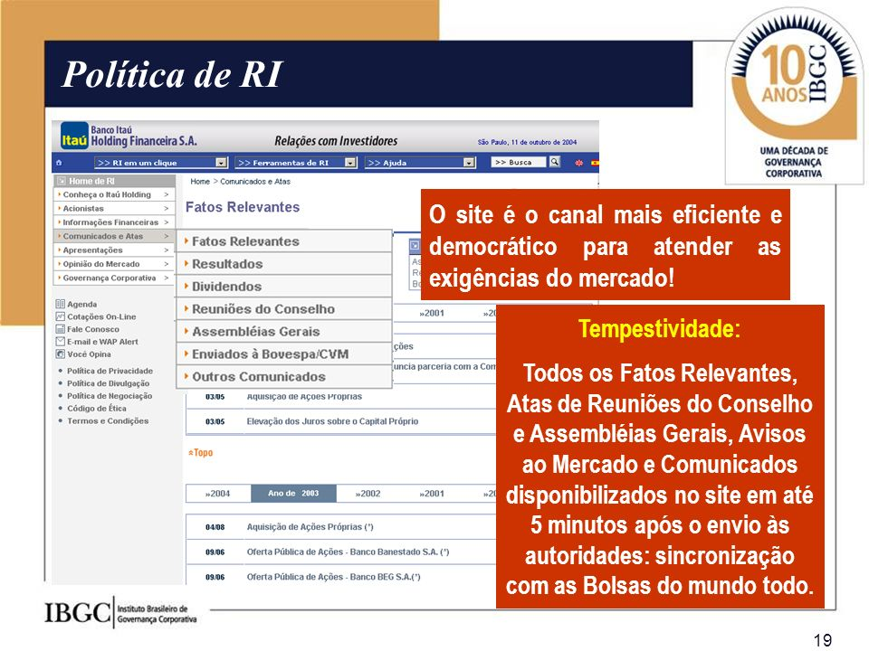 Política de RI O site é o canal mais eficiente e democrático para atender as exigências do mercado!