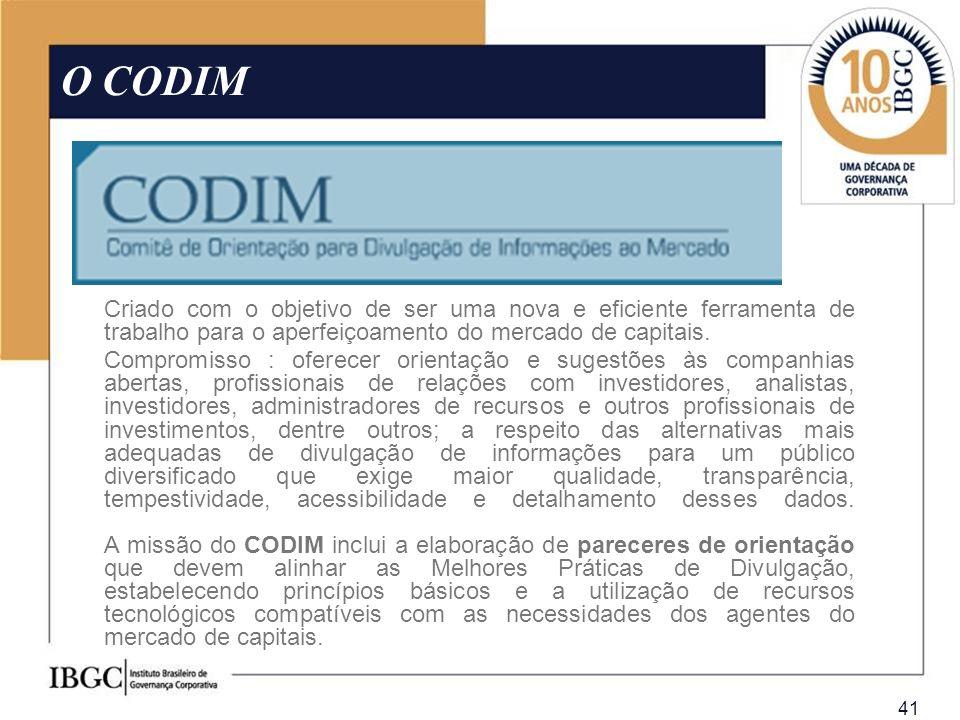 O CODIM Criado com o objetivo de ser uma nova e eficiente ferramenta de trabalho para o aperfeiçoamento do mercado de capitais.