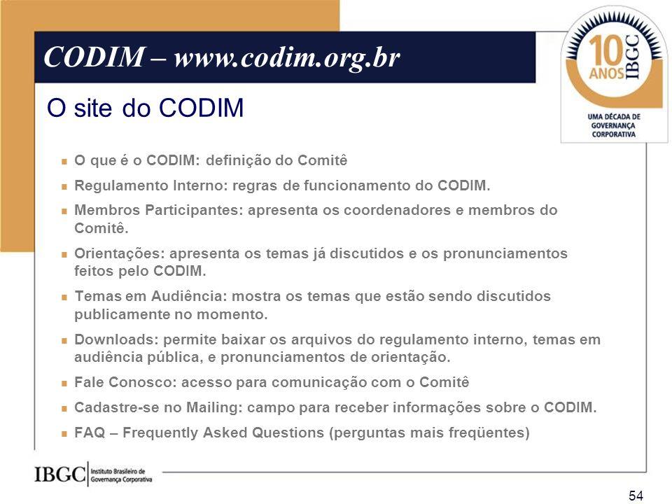 CODIM – www.codim.org.br O site do CODIM