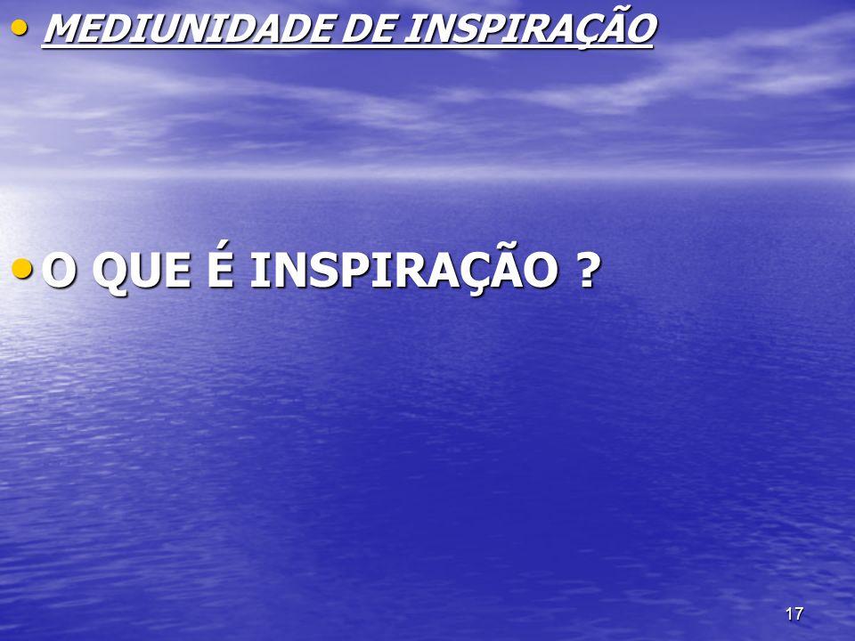 MEDIUNIDADE DE INSPIRAÇÃO