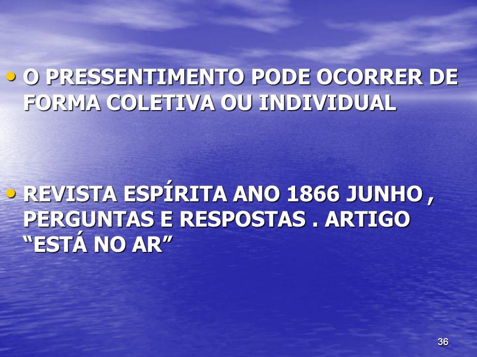 O PRESSENTIMENTO PODE OCORRER DE FORMA COLETIVA OU INDIVIDUAL