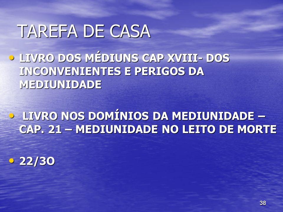 TAREFA DE CASA LIVRO DOS MÉDIUNS CAP XVIII- DOS INCONVENIENTES E PERIGOS DA MEDIUNIDADE.
