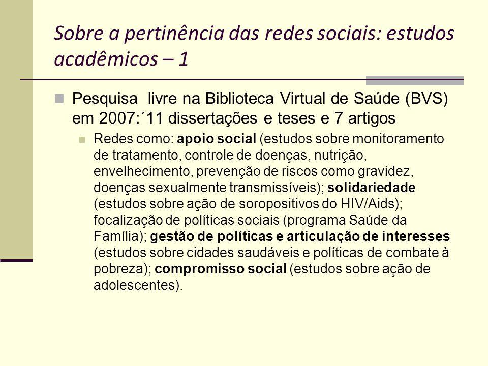 Sobre a pertinência das redes sociais: estudos acadêmicos – 1