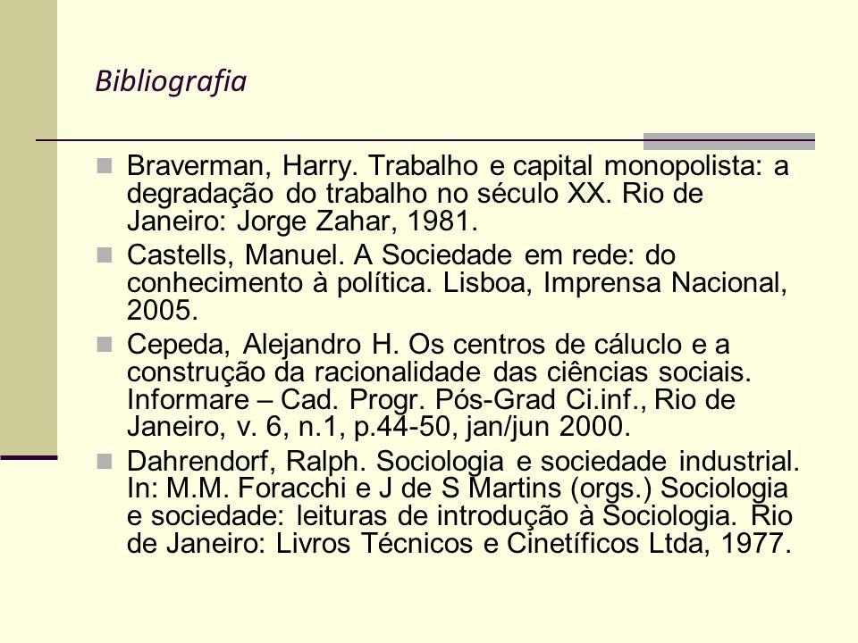 Bibliografia Braverman, Harry. Trabalho e capital monopolista: a degradação do trabalho no século XX. Rio de Janeiro: Jorge Zahar, 1981.