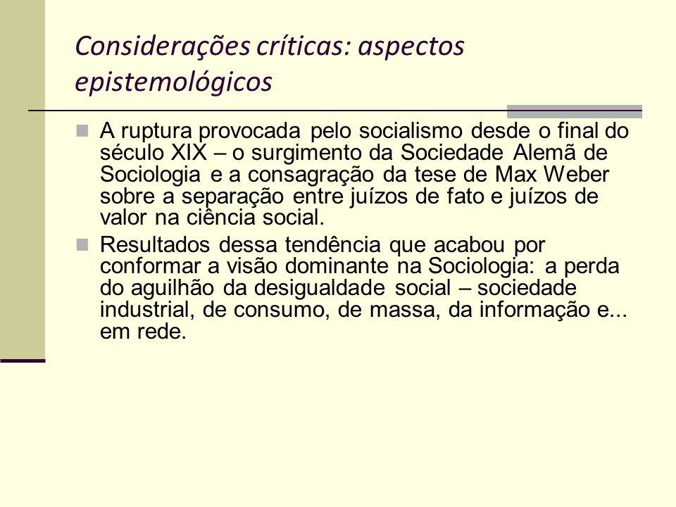 Considerações críticas: aspectos epistemológicos