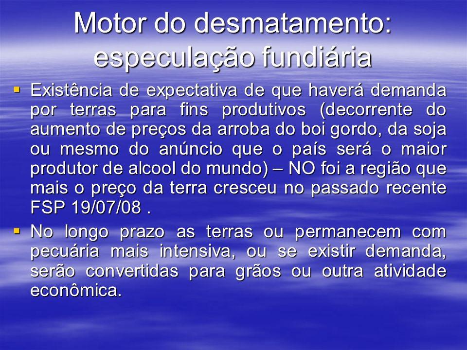 Motor do desmatamento: especulação fundiária
