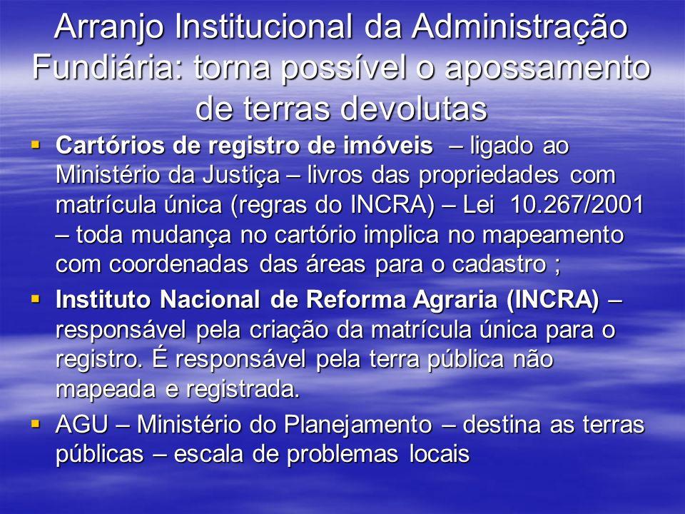 Arranjo Institucional da Administração Fundiária: torna possível o apossamento de terras devolutas