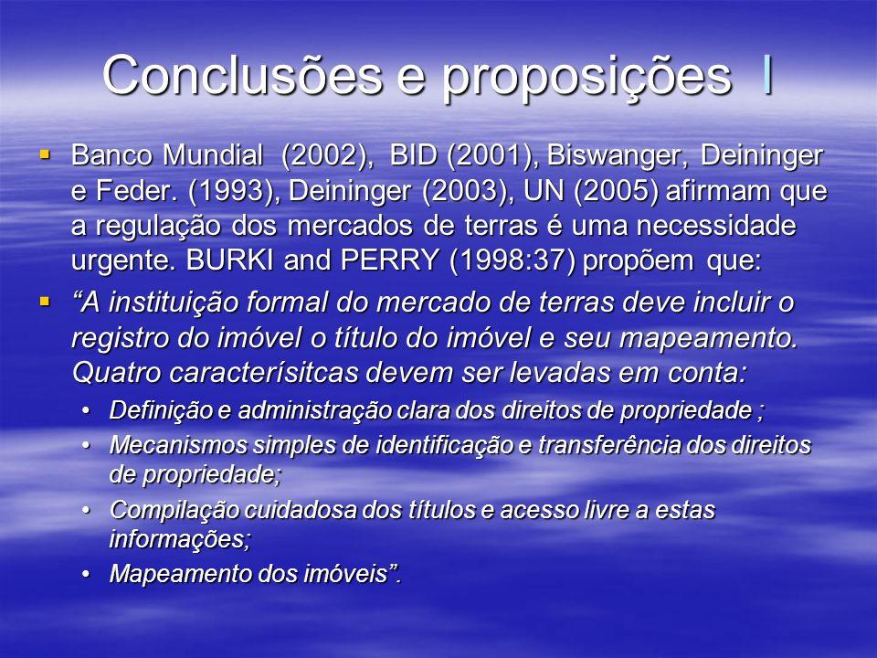 Conclusões e proposições I