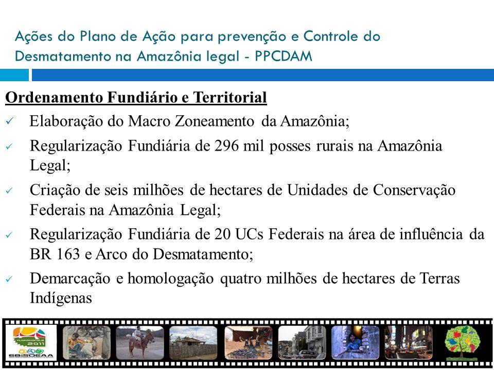 Ações do Plano de Ação para prevenção e Controle do Desmatamento na Amazônia legal - PPCDAM