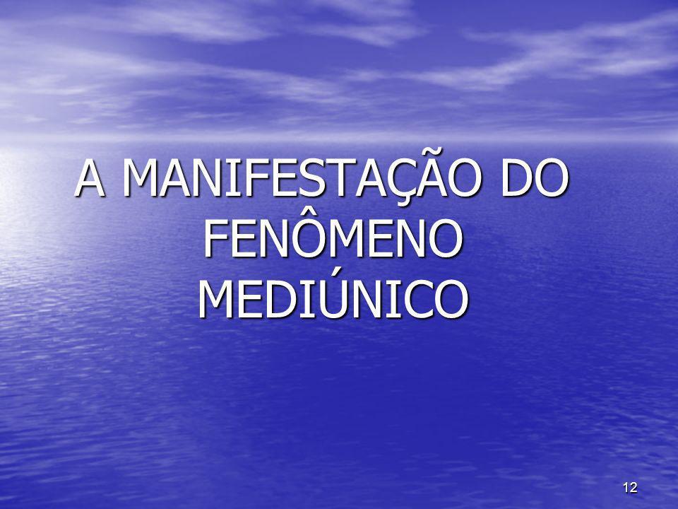 A MANIFESTAÇÃO DO FENÔMENO MEDIÚNICO