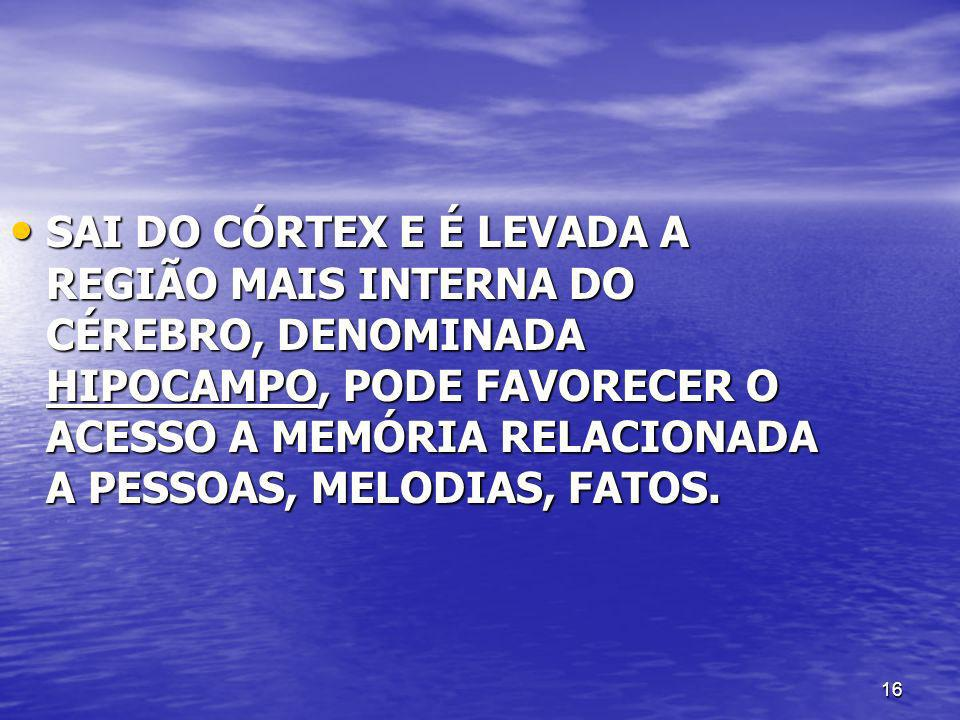 SAI DO CÓRTEX E É LEVADA A REGIÃO MAIS INTERNA DO CÉREBRO, DENOMINADA HIPOCAMPO, PODE FAVORECER O ACESSO A MEMÓRIA RELACIONADA A PESSOAS, MELODIAS, FATOS.