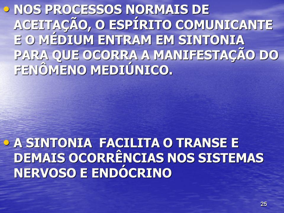 NOS PROCESSOS NORMAIS DE ACEITAÇÃO, O ESPÍRITO COMUNICANTE E O MÉDIUM ENTRAM EM SINTONIA PARA QUE OCORRA A MANIFESTAÇÃO DO FENÔMENO MEDIÚNICO.