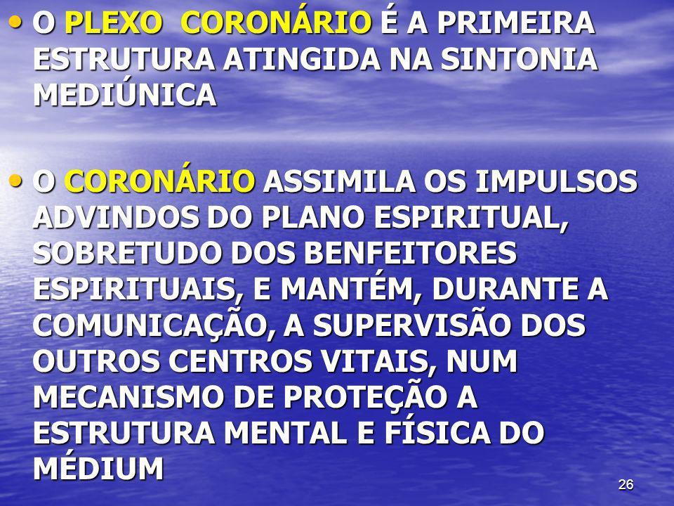 O PLEXO CORONÁRIO É A PRIMEIRA ESTRUTURA ATINGIDA NA SINTONIA MEDIÚNICA