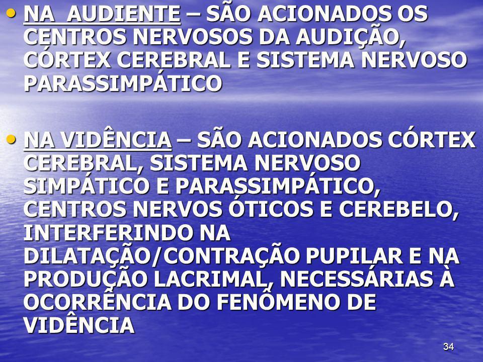 NA AUDIENTE – SÃO ACIONADOS OS CENTROS NERVOSOS DA AUDIÇÃO, CÓRTEX CEREBRAL E SISTEMA NERVOSO PARASSIMPÁTICO