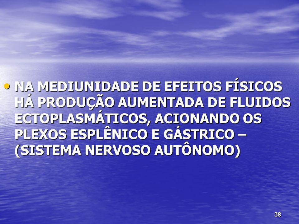 NA MEDIUNIDADE DE EFEITOS FÍSICOS HÁ PRODUÇÃO AUMENTADA DE FLUIDOS ECTOPLASMÁTICOS, ACIONANDO OS PLEXOS ESPLÊNICO E GÁSTRICO – (SISTEMA NERVOSO AUTÔNOMO)