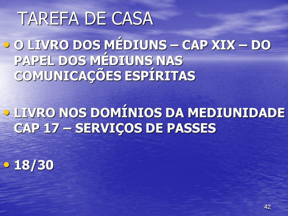 TAREFA DE CASA O LIVRO DOS MÉDIUNS – CAP XIX – DO PAPEL DOS MÉDIUNS NAS COMUNICAÇÕES ESPÍRITAS.