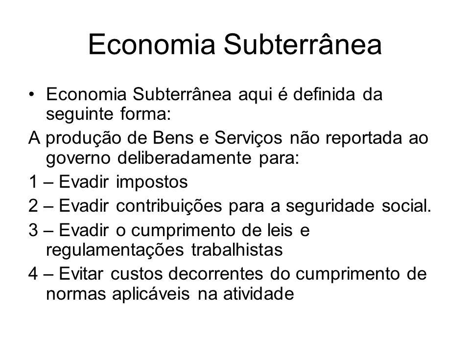 Economia Subterrânea Economia Subterrânea aqui é definida da seguinte forma:
