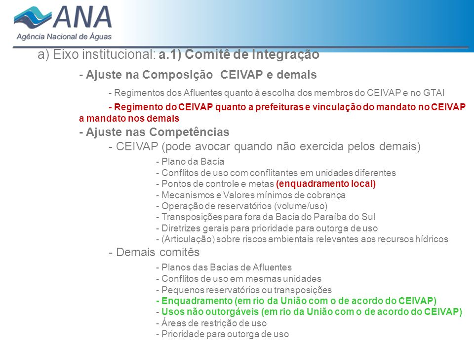 - Ajuste na Composição CEIVAP e demais
