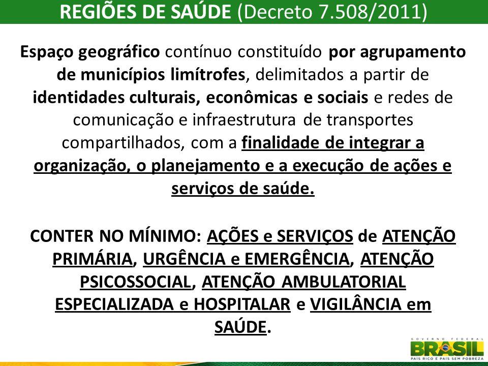 REGIÕES DE SAÚDE (Decreto 7.508/2011)