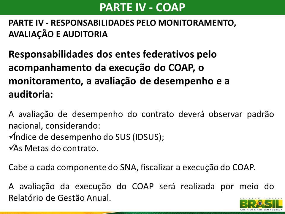 PARTE IV - COAP PARTE IV - RESPONSABILIDADES PELO MONITORAMENTO, AVALIAÇÃO E AUDITORIA.