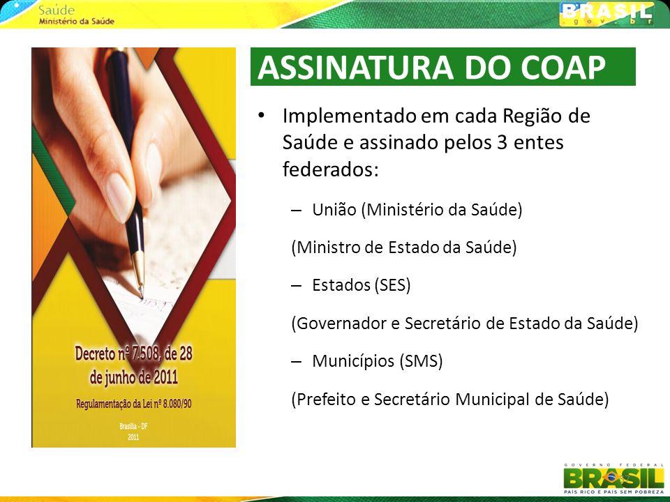 ASSINATURA DO COAPImplementado em cada Região de Saúde e assinado pelos 3 entes federados: União (Ministério da Saúde)