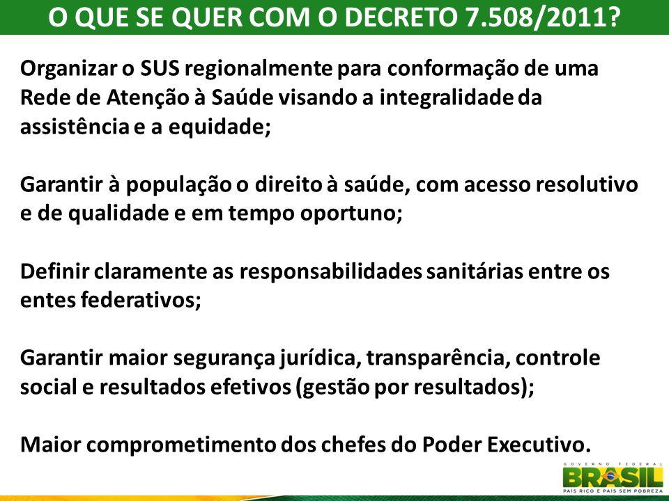O QUE SE QUER COM O DECRETO 7.508/2011