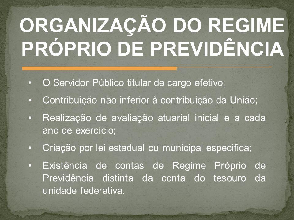 ORGANIZAÇÃO DO REGIME PRÓPRIO DE PREVIDÊNCIA