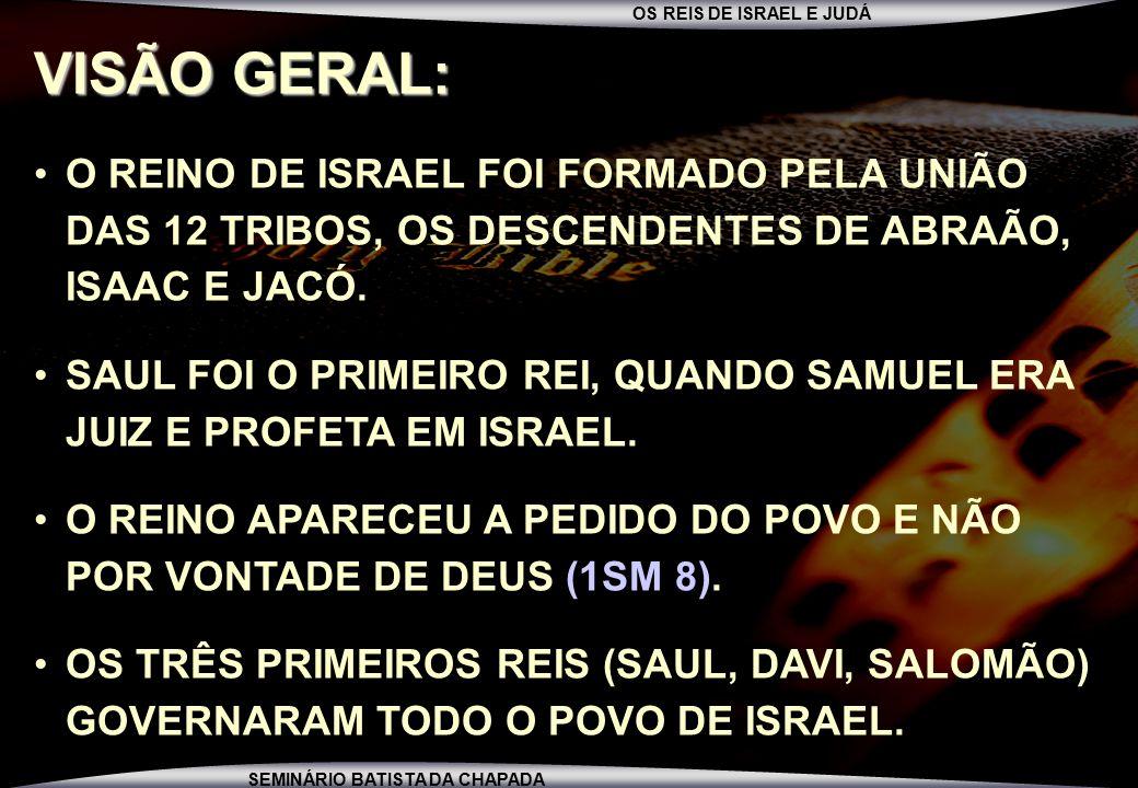 VISÃO GERAL: O REINO DE ISRAEL FOI FORMADO PELA UNIÃO DAS 12 TRIBOS, OS DESCENDENTES DE ABRAÃO, ISAAC E JACÓ.