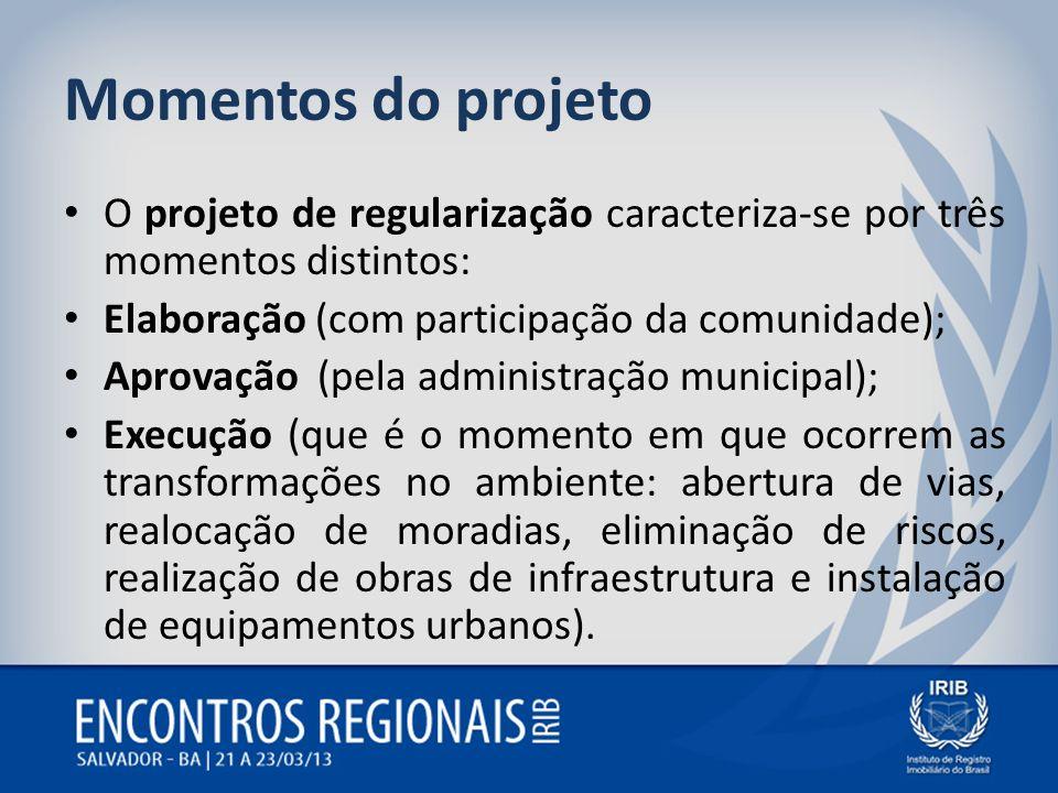 Momentos do projetoO projeto de regularização caracteriza-se por três momentos distintos: Elaboração (com participação da comunidade);