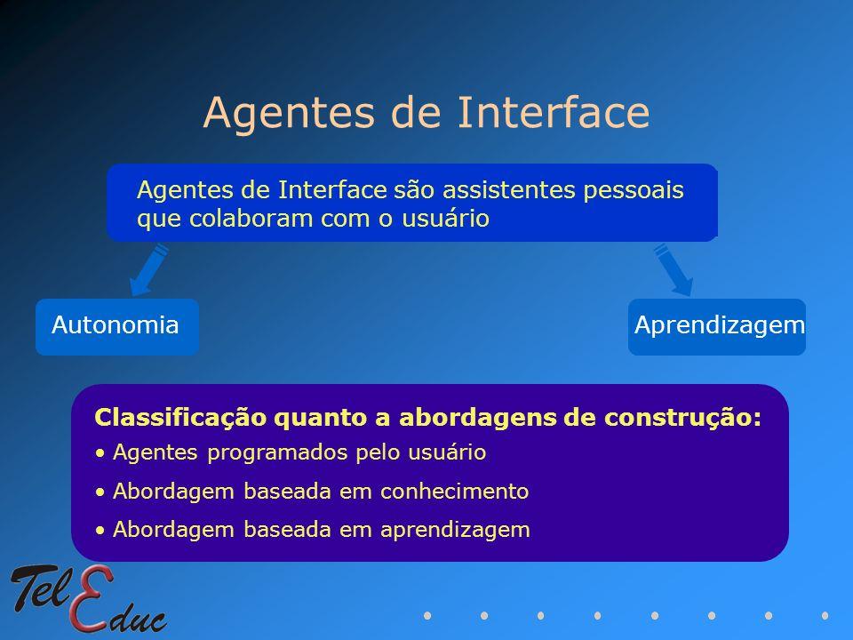 Agentes de Interface Agentes de Interface são assistentes pessoais que colaboram com o usuário. Autonomia.