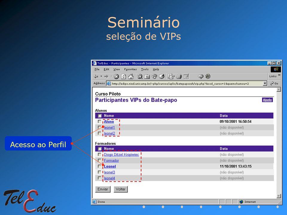 Seminário seleção de VIPs