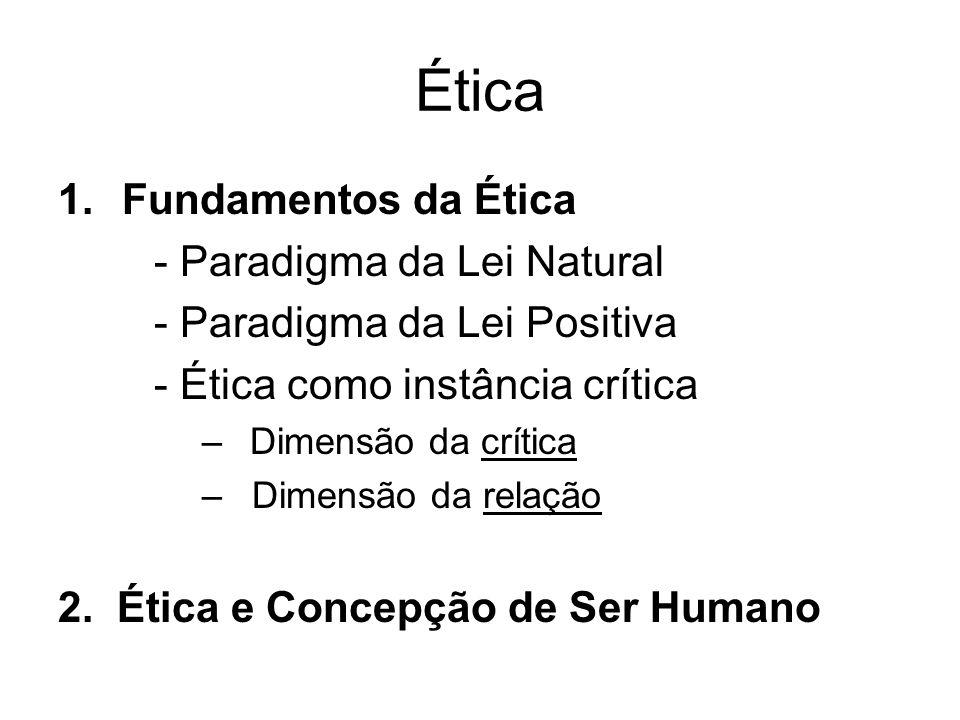 Ética Fundamentos da Ética - Paradigma da Lei Natural