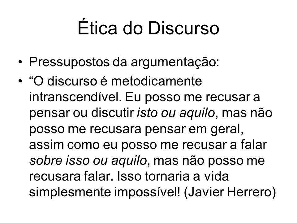 Ética do Discurso Pressupostos da argumentação: